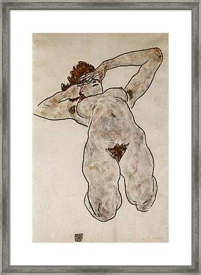Nude Lying Down Framed Print by Egon Schiele