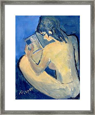 Nude With Nose In Book Framed Print by Betty Pieper
