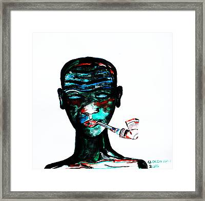 Nuer Lady With Pipe - South Sudan Framed Print by Gloria Ssali