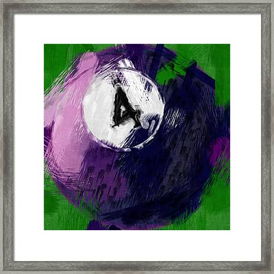 Number Four Billiards Ball Abstract Framed Print by David G Paul