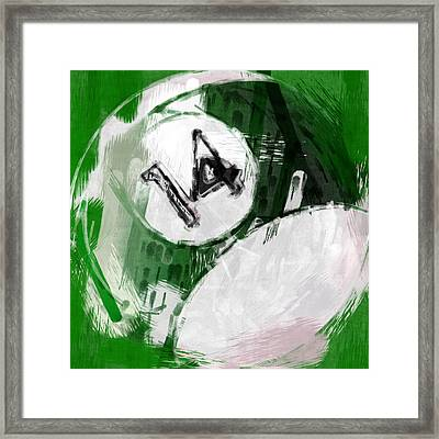 Number Fourteen Billiards Ball Abstract Framed Print by David G Paul