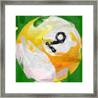 Number Nine Billiards Ball Abstract Framed Print by David G Paul