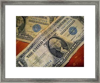 Numeral Uno Silver Payable To Bearer On Demand Framed Print by John King