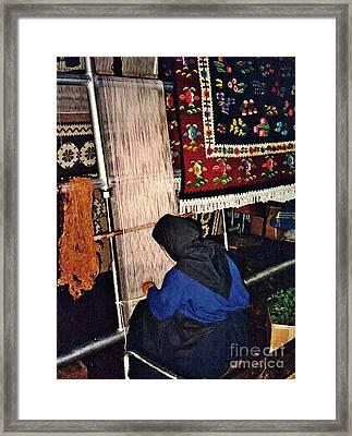 Nun Knotting Carpet Framed Print by Sarah Loft