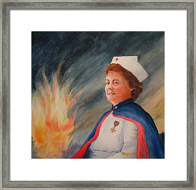 Nurse Arvin Framed Print by Mary Lou Hall