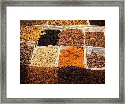 Nuts And Dried Fruit For Sale In Souk Framed Print by Panoramic Images