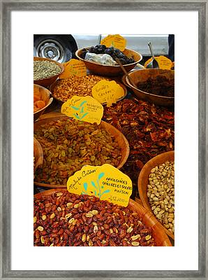 Nuts, Dried Fruits And Vegetables Framed Print by Anne Keiser