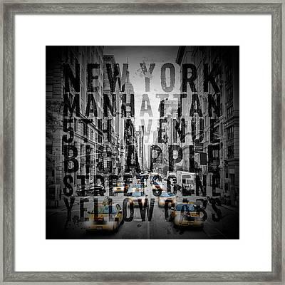 Nyc 5th Avenue Traffic Typography Framed Print by Melanie Viola