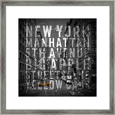 Nyc 5th Avenue Typography II Framed Print by Melanie Viola