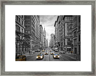 Nyc 5th Avenue Yellow Cabs Framed Print by Melanie Viola