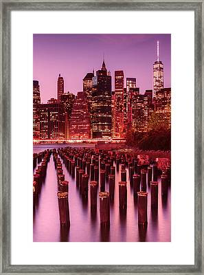 Nyc Skyline Framed Print by Laura Fasulo