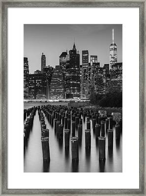 Nyc Skyline Bw Framed Print by Laura Fasulo