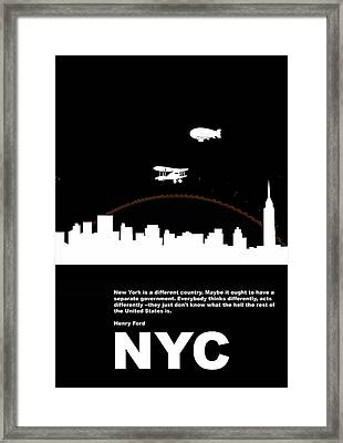 Nyc Night Poster Framed Print by Naxart Studio