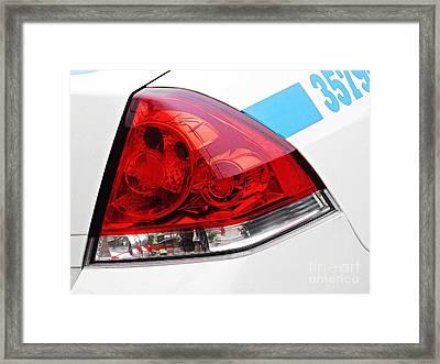 Nyc Police Car Brake Light Framed Print by Sarah Loft