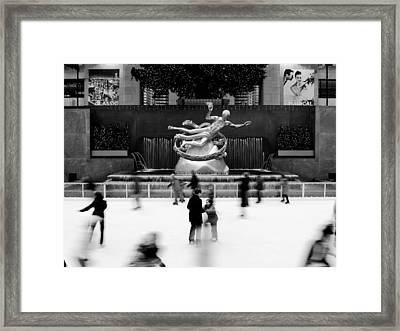 Nyc Rockefellar Iceskating Framed Print by Nina Papiorek