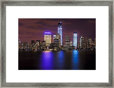 Nyc Skyline And The Freedom Tower Framed Print by Vicki Jauron