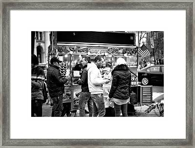 Nyc Snack Time Framed Print by John Rizzuto