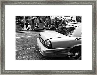 Nyc Taxi Mono Framed Print by John Rizzuto