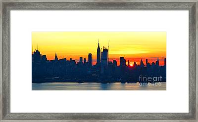 Nyc Thanksgiving Day Sunrise Framed Print by Regina Geoghan