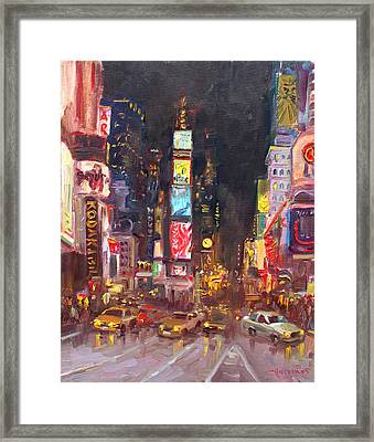 Nyc Times Square Framed Print by Ylli Haruni