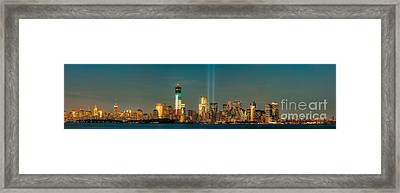 Nyc Tribute In Light Skyline Panorama I Framed Print by Clarence Holmes