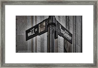 Nyc Wall Street And Broadway Sign Framed Print by Susan Candelario