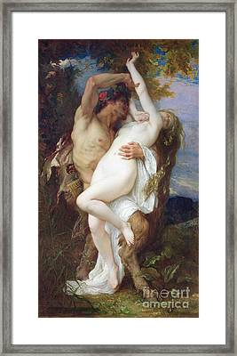 Nymph Abducted By A Faun Framed Print by Alexandre Cabanel
