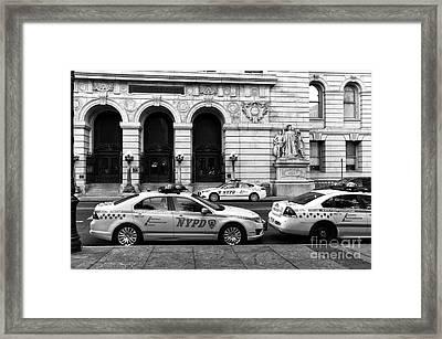 Nypd Cars Mono Framed Print by John Rizzuto