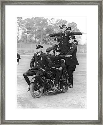 Nypd Motorcycle Stunts Framed Print by Underwood Archives