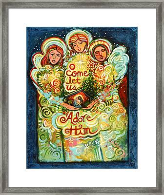 O Come Let Us Adore Him With Angels Framed Print by Jen Norton