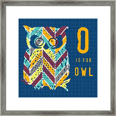 O Is For Owl Framed Print by Brandi Fitzgerald