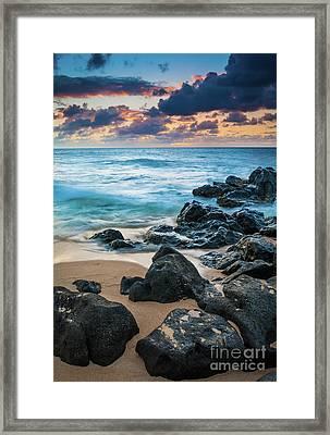 Oahu Sunset Beach Framed Print by Inge Johnsson