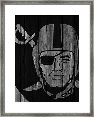 Oakland Raiders Wood Fence Framed Print by Joe Hamilton