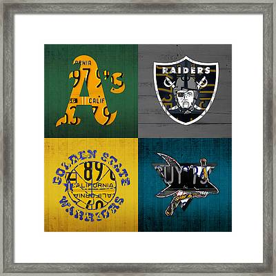Oakland Sports Fan Recycled Vintage California License Plate Art Athletics Raiders Warriors Sharks Framed Print by Design Turnpike