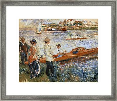 Oarsmen At Chatou Framed Print by Pierre Auguste Renoir