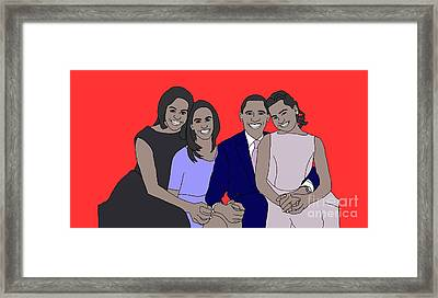 Obama Family Framed Print by Priscilla Wolfe