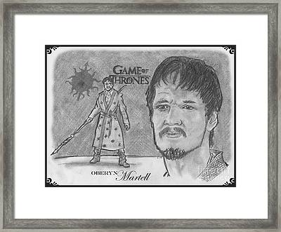 Oberyn Martell The Red Viper Framed Print by Chris DelVecchio