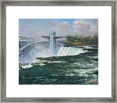 Observation Tower In Niagara Falls Framed Print by Ylli Haruni