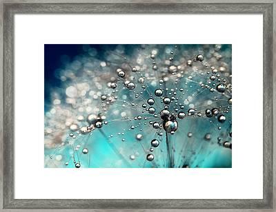 Ocean Blue And White Dandy Drops Framed Print by Sharon Johnstone