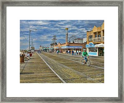 Ocean City Boardwalk Framed Print by Edward Sobuta
