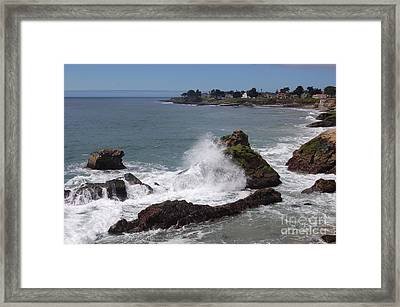 Ocean Spray West Cliff Framed Print by Garnett  Jaeger
