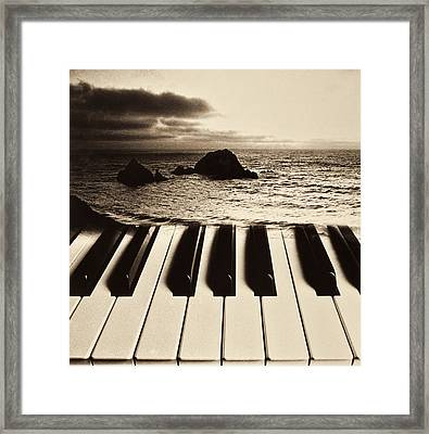 Ocean Washing Over Keyboard Framed Print by Garry Gay