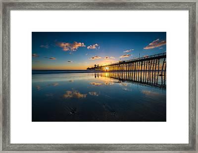 Oceanside Pier Reflections Framed Print by Larry Marshall