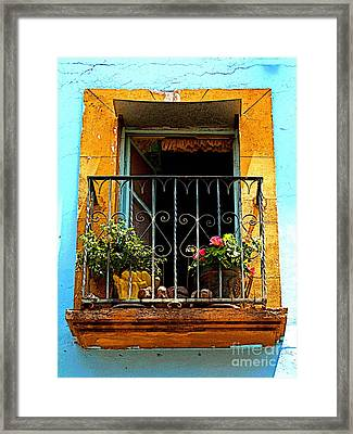 Ochre Window In Turqoise Framed Print by Mexicolors Art Photography