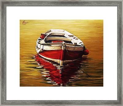 Ocre S Sea Framed Print by Natalia Tejera