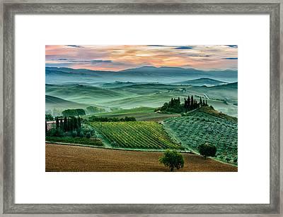 October Dawn In San Quirico D'orcia Framed Print by Adrian Popan