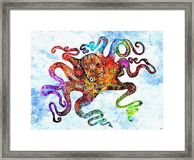Octopus Grunge Framed Print by Daniel Janda