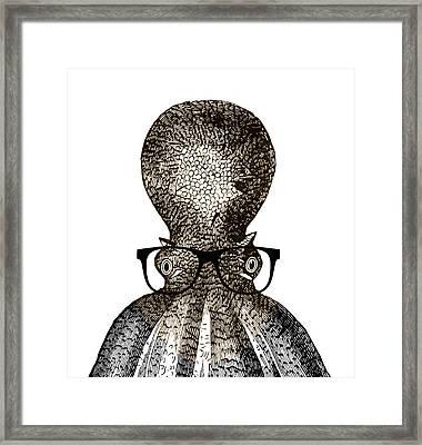 Octopus Head Framed Print by Frank Tschakert