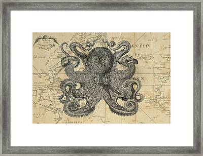 Octopus Sea Chart Framed Print by Erin Cadigan