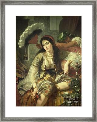 Odalisque Framed Print by Jean Baptiste Ange Tissier